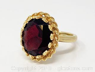 Garnet And 18k Gold Ring