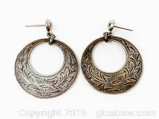 Silver Etched Drop Hoop Earrings