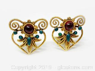 Garnet Clip On Earrings Set In Sterling