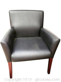 Very Nice Black Leather Armed Office Chair