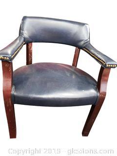 Navy Blue Leather Barrelback Pub Vintage Chair/Office