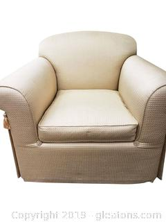 Beautiful Light Creamy Yellow Skirted Accent/Club Chair