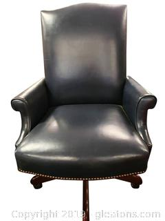 (A) Navy Blue Leather High Point Furniture Company