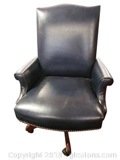 (B) Navy Blue Leather High Back Made By High Point Furn. Co.