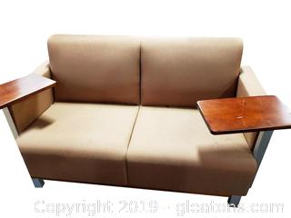 Contemporary Style Loveseat Office Seating Side Table