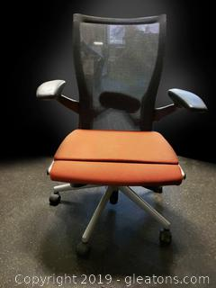 Contemporary Style Office Chair With Mesh Back Armed