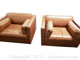 PR Of Carmel Color Leather Box Chairs