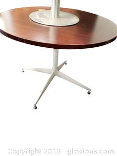 Laminate Wood Look Top Stainless Base Office Table