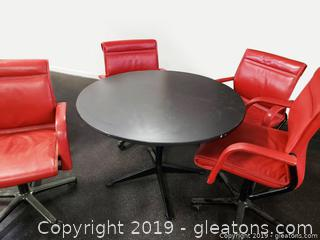 Set Of (4) Red Leather Rolling Office Chairs