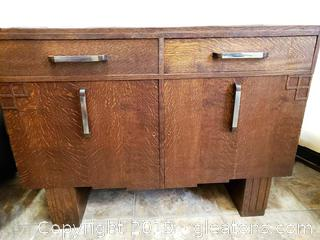 Regency Vtg Buffet With Stainless Handle Details
