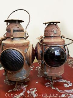 PR OF Antique Handlan St. Louisiana Lamp lantern
