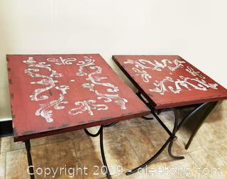 PR Of Black Metal/Painted Wood Top Indoor/Outdoor Tables