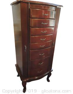 Tall Solid Wood Jewelry Chest