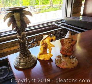 Lot Of Palm Candlestick Japanese Statue, Gnome Figurine