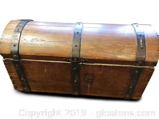 Old Antique Wood/Metal Detail Dome Top Trunk