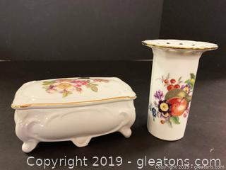 Tirschenreuth Bavaria Vase And Golden Crown E+R Trinket Box