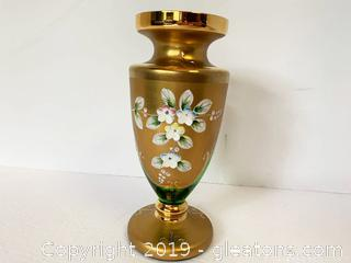 Murano Gold Gilded Hand Painted Vase