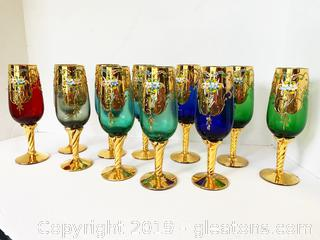 Murano Gold Gilded Champage Flutes