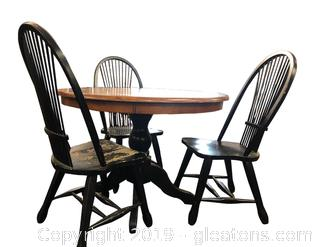 Farmhouse Round Table With Three Chairs
