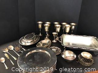 Large Silverplate Lot And Award