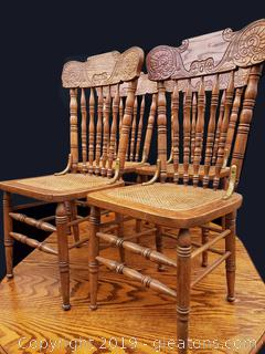 Set Of Pressed Back Rattan Bottom Dining Chairs