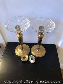 Heavy Brass Candle Sticks with Glass