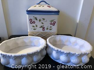 Ceramic Biscuit Jar and Pots