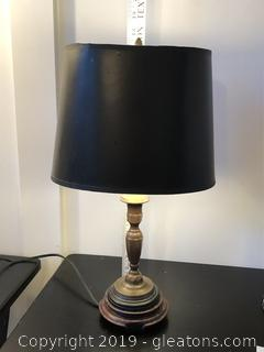 Antique Brass Table Lamp with Black Shade