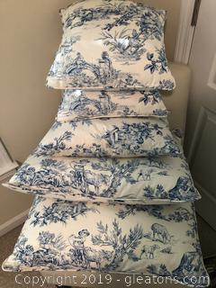 Toile Bedding with curtains, dust ruffle, tablecloth and pillows