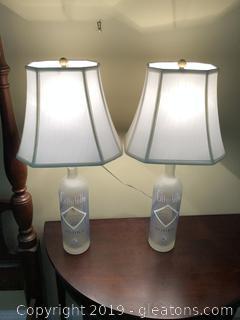 Pair of Large Vodka Bottle Lamps