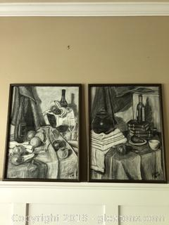 Pair of Original Charcoals by Shane