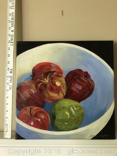 "Original Acrylic Titled ""Apple"" by Ellen Dayley"