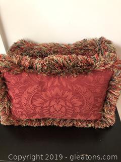 Pair of Fancy Damask Chenille Lumar Pillows