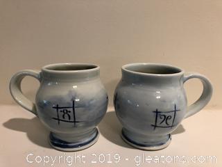 Pair of Stoneware Hand Made Korean  Mugs