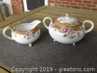 Antique Nippon Moriage Decorated Handpainted Pink Dogwood Blooms Creamer & Lidded Sugar both Have Feet