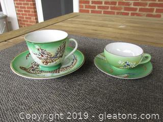 Old Vintage 1940's J.B.'S  Betson China Dragonware Demitasse Tea Cup & Saucer / Even Smaller Dragonware Cup & Saucer Made in Japan