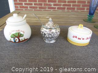 1 Mustard Pot Silver Plated with Spoon  / 1 Jam'n Jelly Pot 1962 Holt. Howard / 1 Mustard Pot Gallery Originals with Spoon 1984