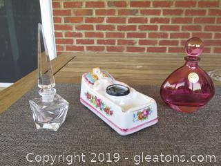 2 Perfume Bottles one made in Italy and one made in West Germany / Vintage Art Deco Pin-Up Girl Ashtray (missing removable legs)