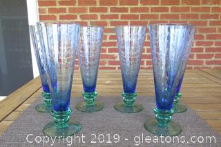 Set of 6 Glass Blue & Green Contemporary Beer Flutes