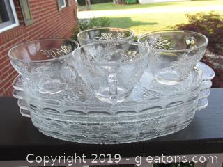 "Set of 4 Anchor Hocking Snack / Lunch Plates with Cups 1950""s Grapes & Leaves"