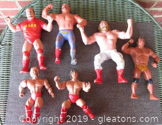 Vintage Lot of 4 Titan Sports Wrestler Figures 1984 & 2 Remco Wrestler Figures 1985 / WELL PLAYED WITH
