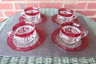 Vintage Tiffin Franciscan King's Crown Ruby Flash Set of 4 Cup & Saucer