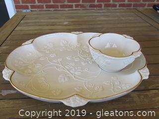 Lenox Ivy Cottage Large Platter with Dip Bowl