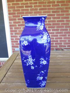 Pretty Cobalt Blue & White Vase 15 Inches Tall