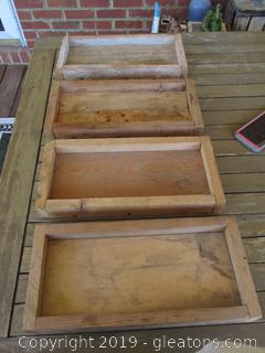 4 Primitive Handmade Low Wooden Boxes