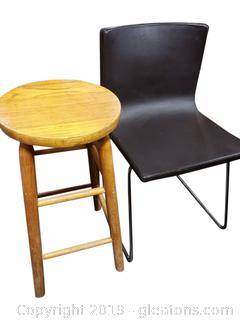 Contemporary Leather Chair And Wooden Bar Stool