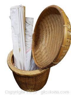 Wicker Pot, Canvas Shades Blinds