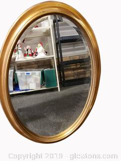 Gold Wood Oval Wall Mirror