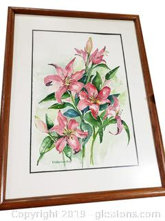 Lily Water Color Framed Wall Art