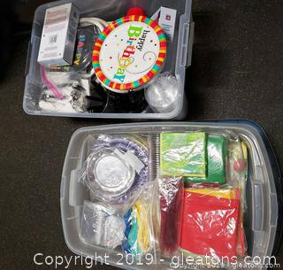 (2) Plastic Totes With All Occation Napkins, Cups, Plates